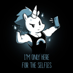 I'm Only Here for the Selfies t-shirt TeeTurtle black t-shirt featuring a white unicorn with a short, dark blue mane wearing a tank top with a monochrome rainbow flexing his upper right limb while taking a selfie.