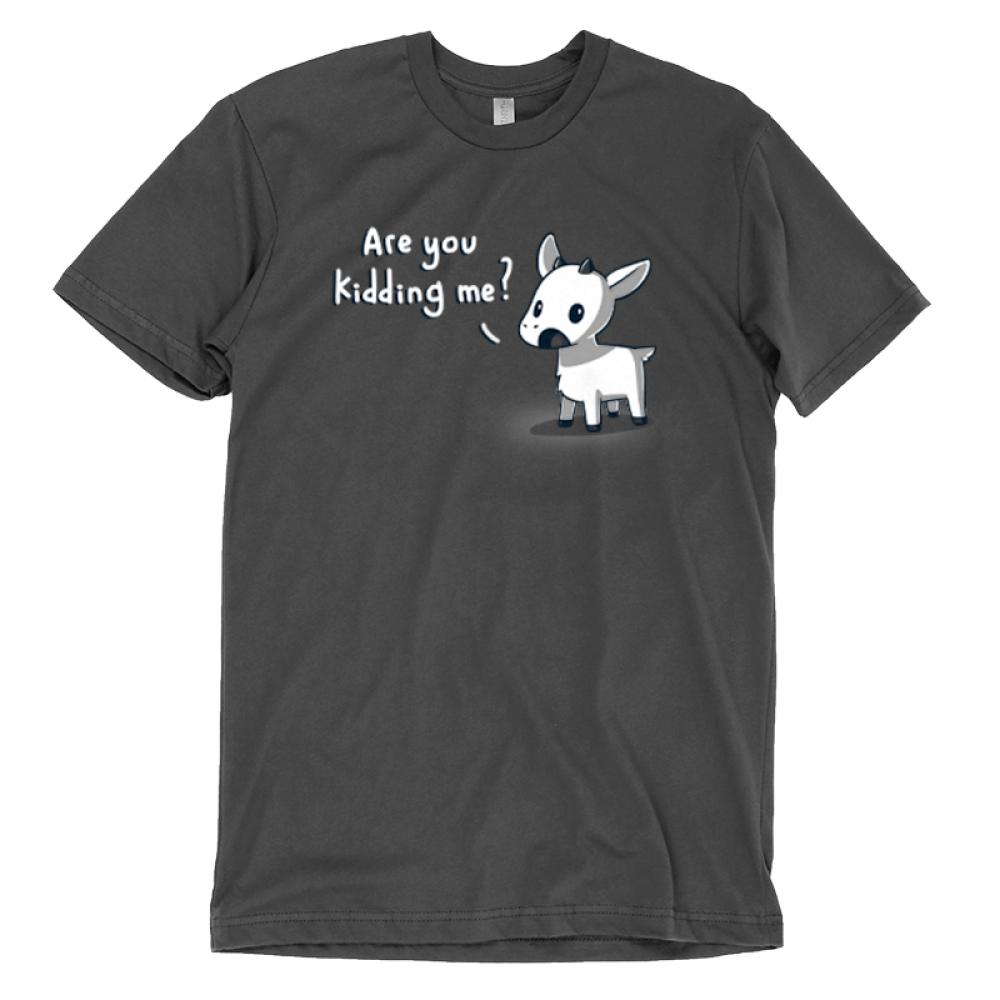 Are You Kidding Me? t-shirt TeeTurtle charcoal t-shirt featuring a goat with his mouth open