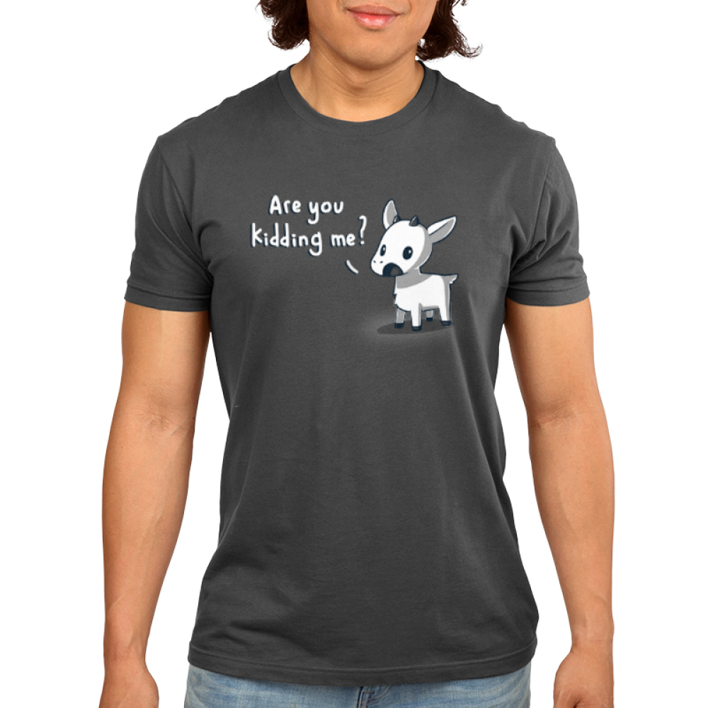 Are You Kidding Me? Men's t-shirt model TeeTurtle charcoal t-shirt featuring a goat with his mouth open