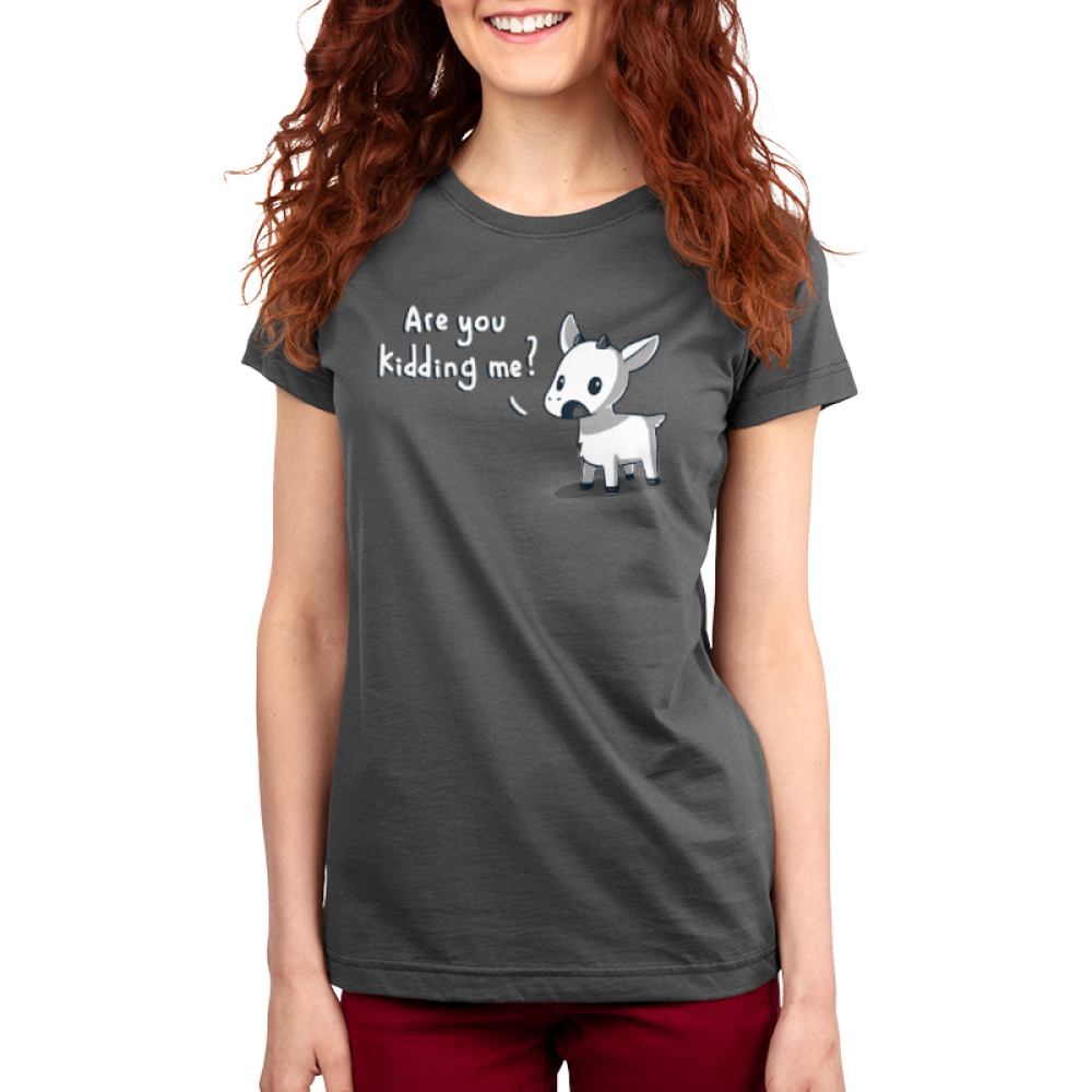Are You Kidding Me? Women's t-shirt model TeeTurtle charcoal t-shirt featuring a goat with his mouth open