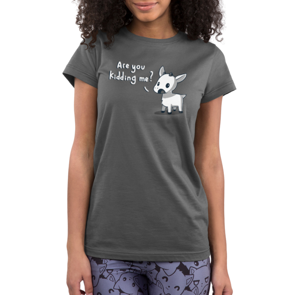 Are You Kidding Me? Junior's t-shirt model TeeTurtle charcoal t-shirt featuring a goat with his mouth open