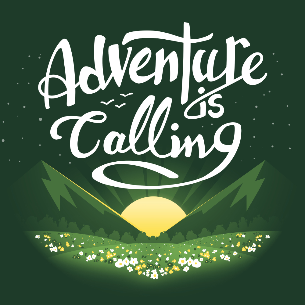 Adventure is Calling t-shirt TeeTurtle forest green t-shirt featuring a sun rising in between green fields in front of a field of flowers