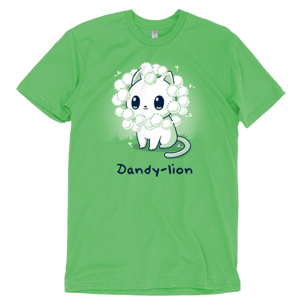 Dandy-lion t-shirt TeeTurtle apple green t-shirt with a white cheerful looking cat with dandy lion flowers surrounding its head to look like a lions mane