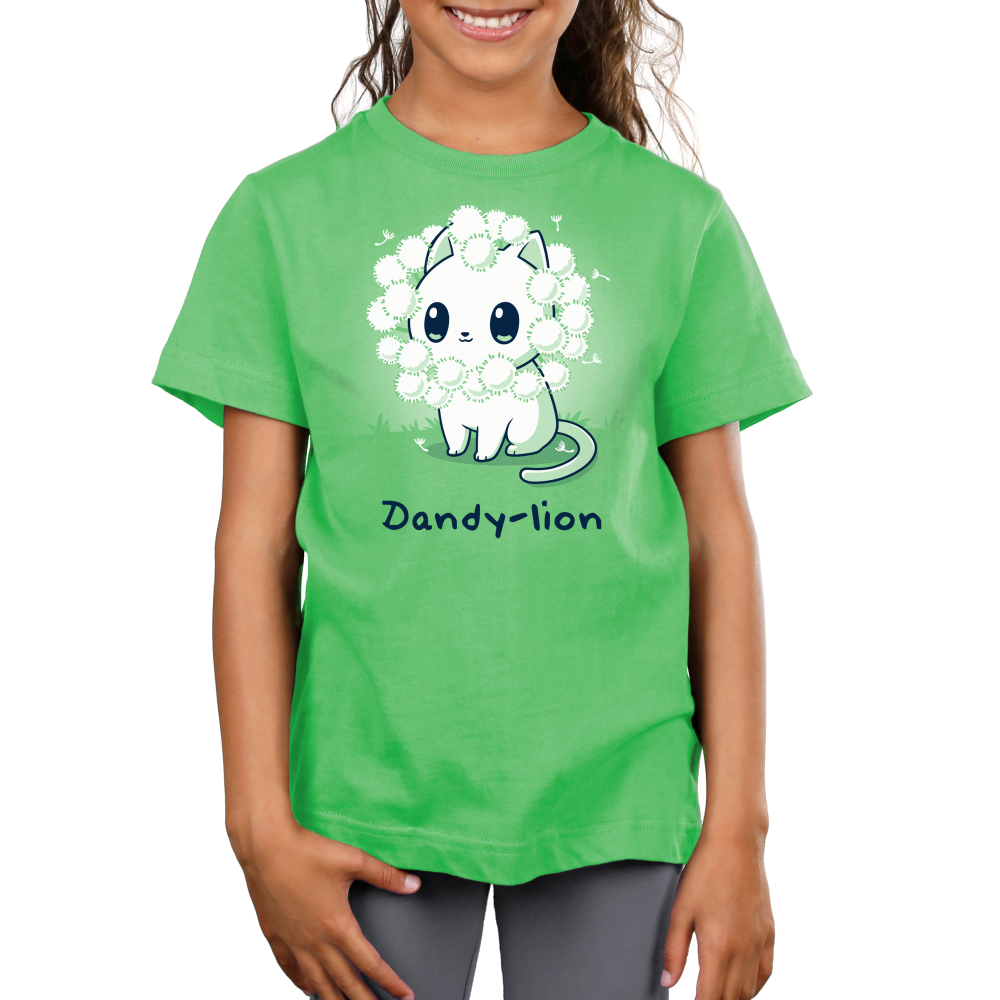 Dandy-lion Kid's t-shirt model TeeTurtle apple green t-shirt with a white cheerful looking cat with dandy lion flowers surrounding its head to look like a lions mane