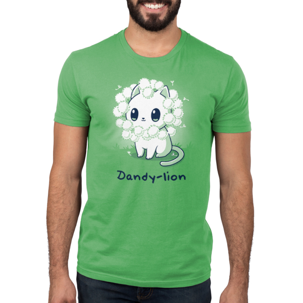 Dandy-lion Men's t-shirt model TeeTurtle apple green t-shirt with a white cheerful looking cat with dandy lion flowers surrounding its head to look like a lions mane