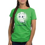 Dandy-lion Women's t-shirt model TeeTurtle apple green t-shirt with a white cheerful looking cat with dandy lion flowers surrounding its head to look like a lions mane
