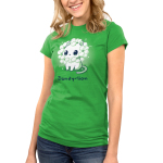 Dandy-lion Junior's t-shirt model TeeTurtle apple green t-shirt with a white cheerful looking cat with dandy lion flowers surrounding its head to look like a lions mane