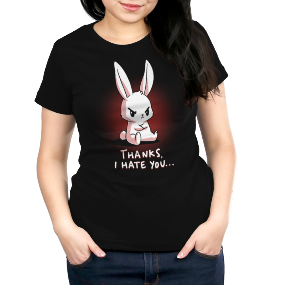 Thanks, I Hate You Women's t-shirt model TeeTurtle black t-shirt featuring an angry looking bunny sitting with his arms crossed