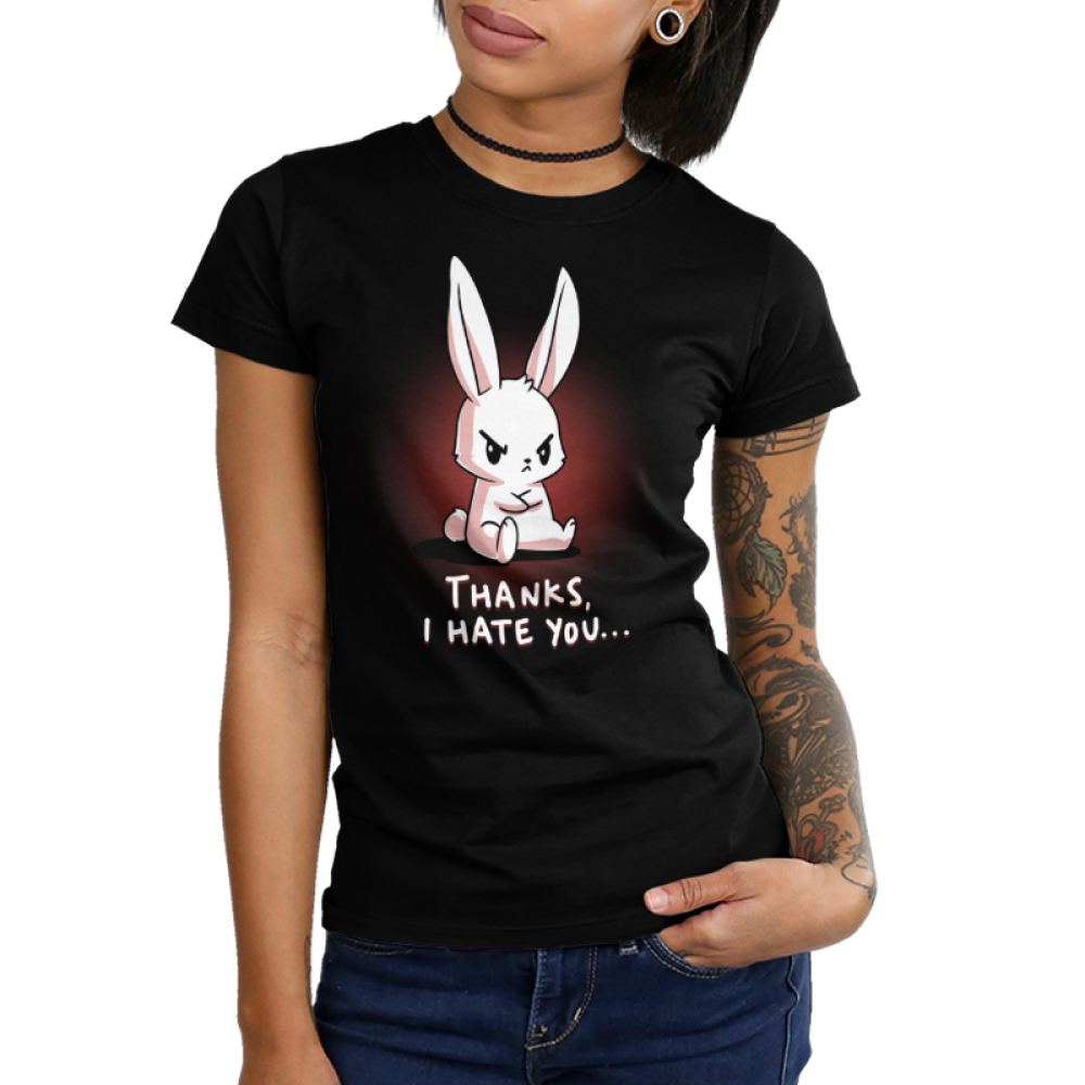 Thanks, I Hate You Junior's t-shirt model TeeTurtle black t-shirt featuring an angry looking bunny sitting with his arms crossed