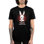 Thanks, I Hate You Men's t-shirt model TeeTurtle black t-shirt featuring an angry looking bunny sitting with his arms crossed