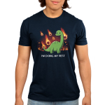 I'm Doing My Best Men's t-shirt model TeeTurtle navy t-shirt featuring a dinosaur with a little smile and a tear coming from his eye with meteors on fire falling down behind him