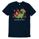 I'm Doing My Best t-shirt TeeTurtle navy t-shirt featuring a dinosaur with a little smile and a tear coming from his eye with meteors on fire falling down behind him