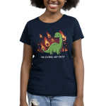 I'm Doing My Best Women's t-shirt model TeeTurtle navy t-shirt featuring a dinosaur with a little smile and a tear coming from his eye with meteors on fire falling down behind him