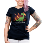 I'm Doing My Best Junior's t-shirt model TeeTurtle navy t-shirt featuring a dinosaur with a little smile and a tear coming from his eye with meteors on fire falling down behind him