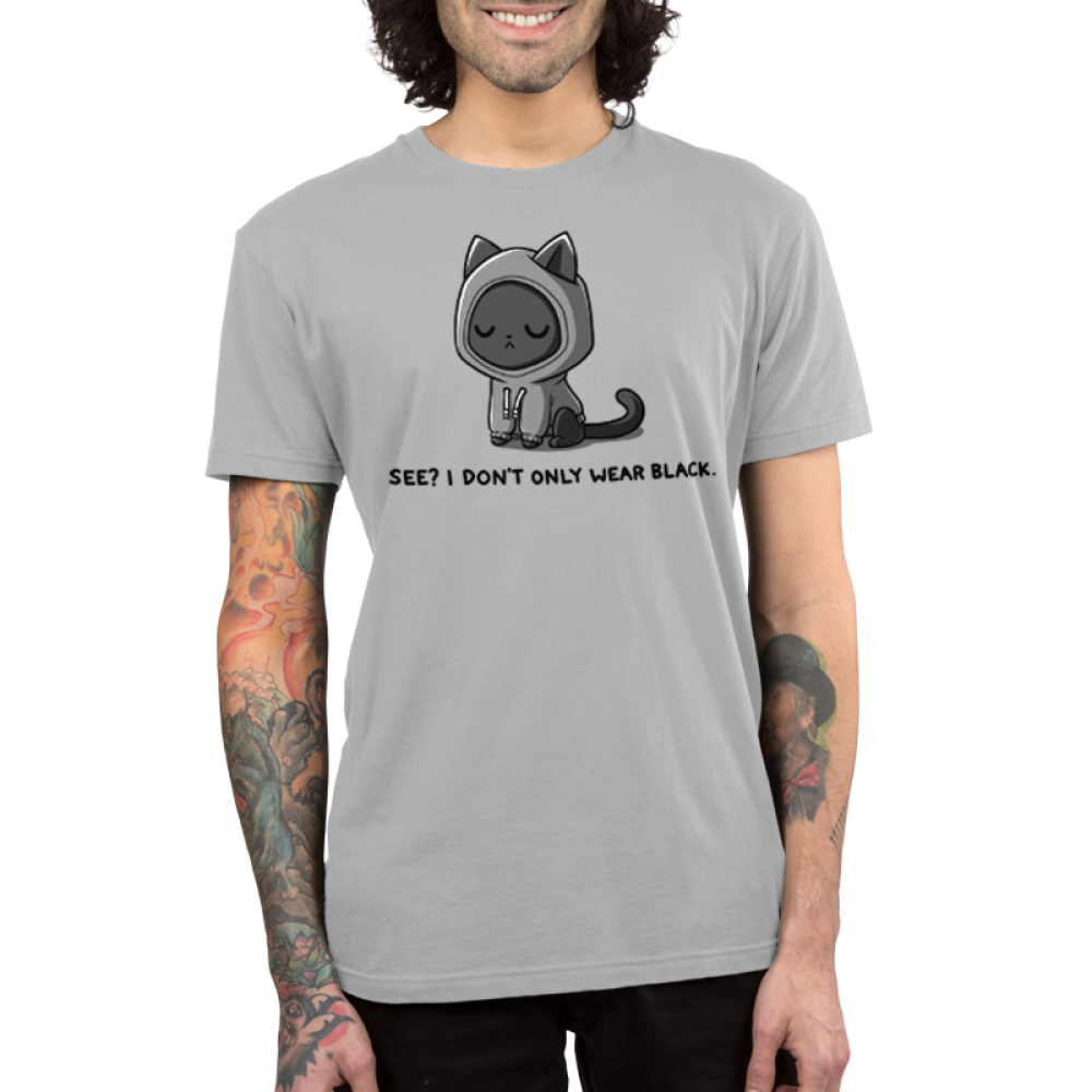 I Don'y Only Wear Black Men's t-shirt model TeeTurtle light gray t-shirt featuring a black cat with a sassy face in a gray hoodie