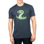 Snake Eyes Men's t-shirt model TeeTurtle denim blue t-shirt featuring a green snake with two white dice for eyes