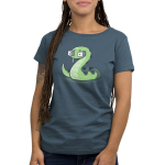 Snake Eyes Women's t-shirt model TeeTurtle denim blue t-shirt featuring a green snake with two white dice for eyes
