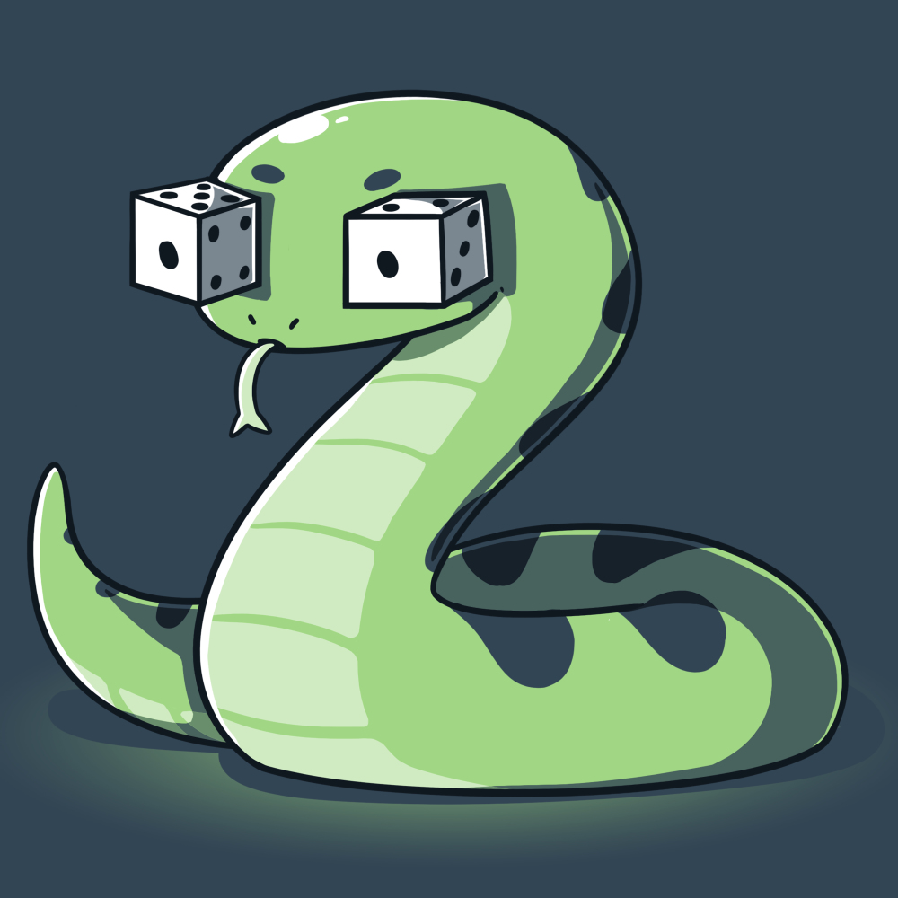 Snake Eyes t-shirt TeeTurtle denim blue t-shirt featuring a green snake with two white dice for eyes