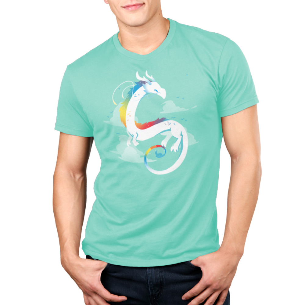 Rainbow Dragon Men's t-shirt model TeeTurtle chill blue t-shirt featuring a white dragon with rainbow coloring flying with clouds in the background
