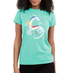 Rainbow Dragon Junior's t-shirt model TeeTurtle chill blue t-shirt featuring a white dragon with rainbow coloring flying with clouds in the background