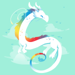 Rainbow Dragon t-shirt TeeTurtle chill blue t-shirt featuring a white dragon with rainbow coloring flying with clouds in the background