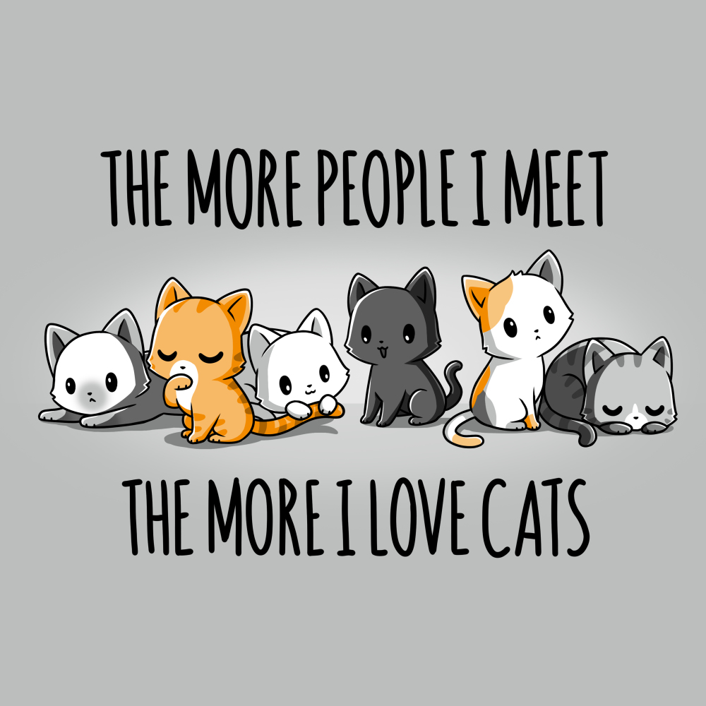 I Love Cats t-shirt TeeTurtle silver t-shirt featuring six differently colored cats either lounging, sitting, sleeping, or grooming themselves.