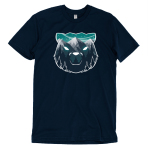 Majestic Mountains t-shirt TeeTurtle navy t-shirt featuring the outline of a bear face with gray mountains, dark tall trees, and a star filled sky within it