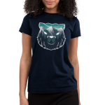 Majestic Mountains Junior's t-shirt model TeeTurtle navy t-shirt featuring the outline of a bear face with gray mountains, dark tall trees, and a star filled sky within it