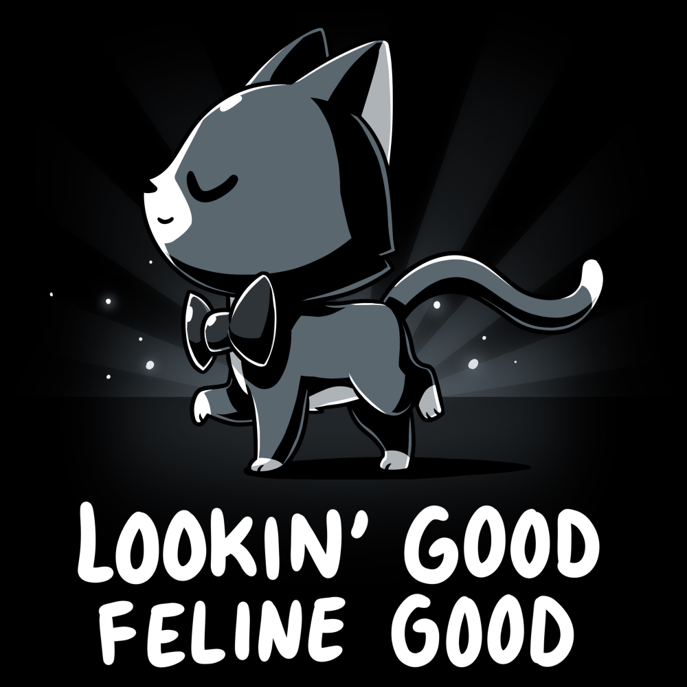 Lookin' Good Feline Good t-shirt TeeTurtle black t-shirt featuring a black cat in a black bowtie with his head up looking sassy