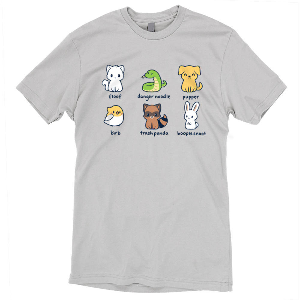 Animal Names t-shirt TeeTurtle light gray t-shirt featuring a cat named floof, a snake named danger noodle, a dog named pupper, a bird named birb, a raccoon names trash panda, and a bunny named booplesnoot