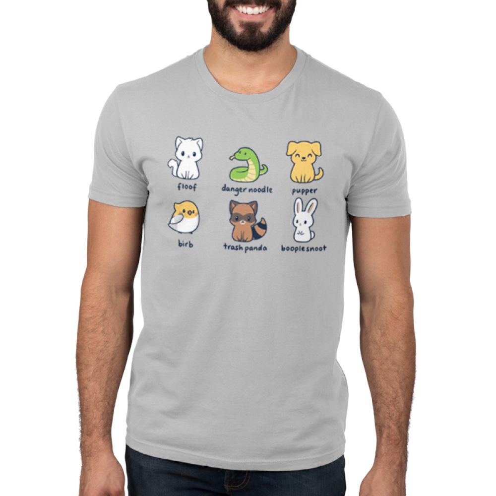 Animal Names Men's t-shirt model TeeTurtle light gray t-shirt featuring a cat named floof, a snake named danger noodle, a dog named pupper, a bird named birb, a raccoon names trash panda, and a bunny named booplesnoot