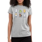 Animal Names Junior's t-shirt model TeeTurtle light gray t-shirt featuring a cat named floof, a snake named danger noodle, a dog named pupper, a bird named birb, a raccoon names trash panda, and a bunny named booplesnoot