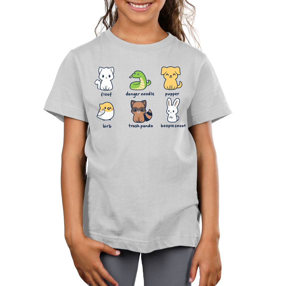 Animal Names Kid's t-shirt model TeeTurtle light gray t-shirt featuring a cat named floof, a snake named danger noodle, a dog named pupper, a bird named birb, a raccoon names trash panda, and a bunny named booplesnoot