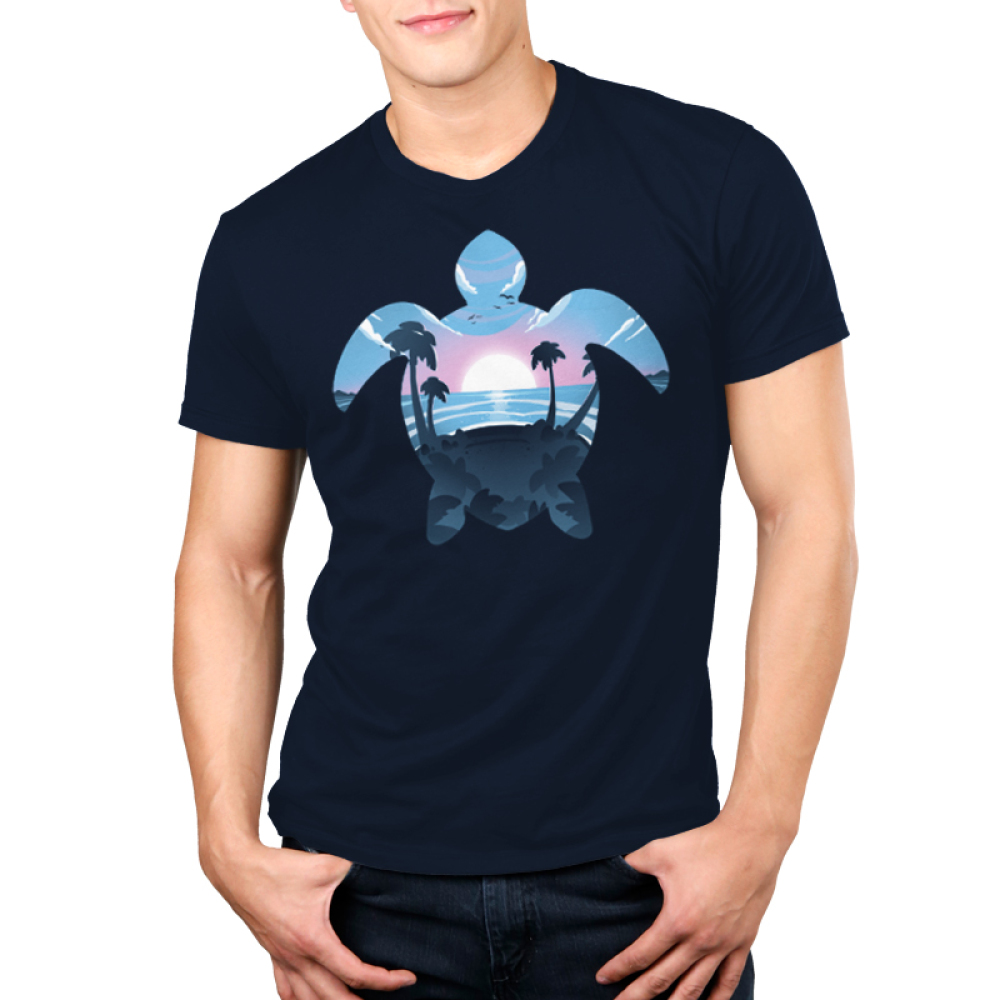 Sea Turtle Men's t-shirt model TeeTurtle navy t-shirt featuring the outline of a sea turtle with a sunset, ocean, and palm trees in its outline