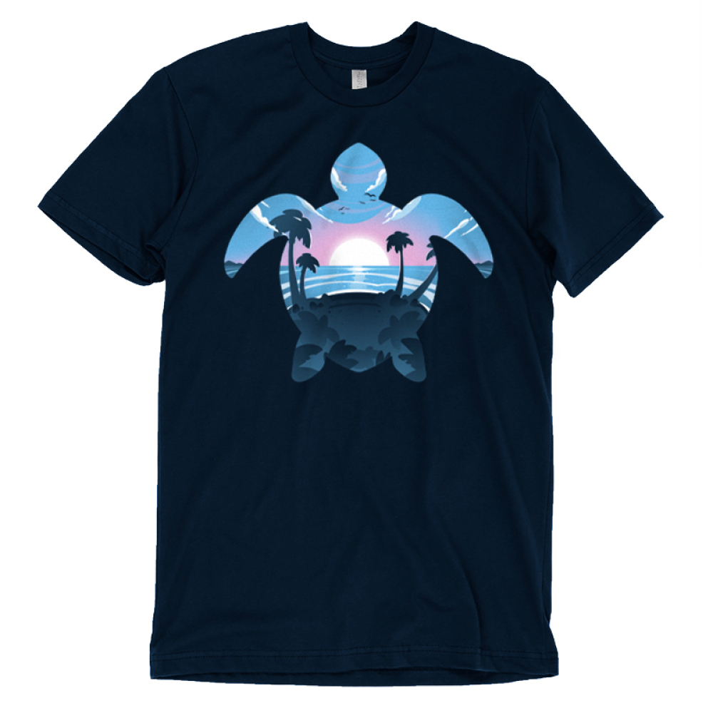 Sea Turtle t-shirt TeeTurtle navy t-shirt featuring the outline of a sea turtle with a sunset, ocean, and palm trees in its outline