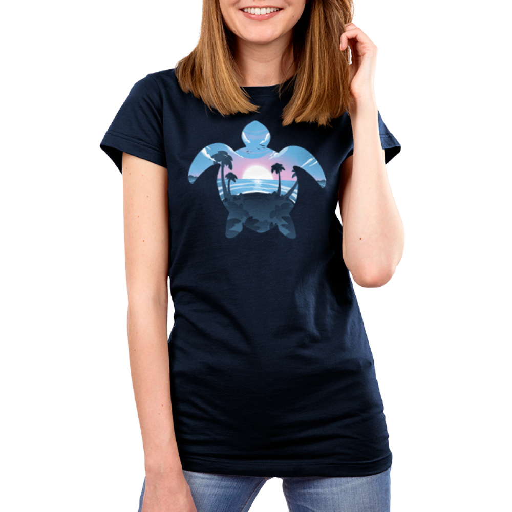 Sea Turtle Women's t-shirt model TeeTurtle navy t-shirt featuring the outline of a sea turtle with a sunset, ocean, and palm trees in its outline
