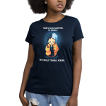 I'm a Really Terrible Person Women's t-shirt model officially licensed navy Disney t-shirt featuring Cruella De Vil from 101 Dalmatians