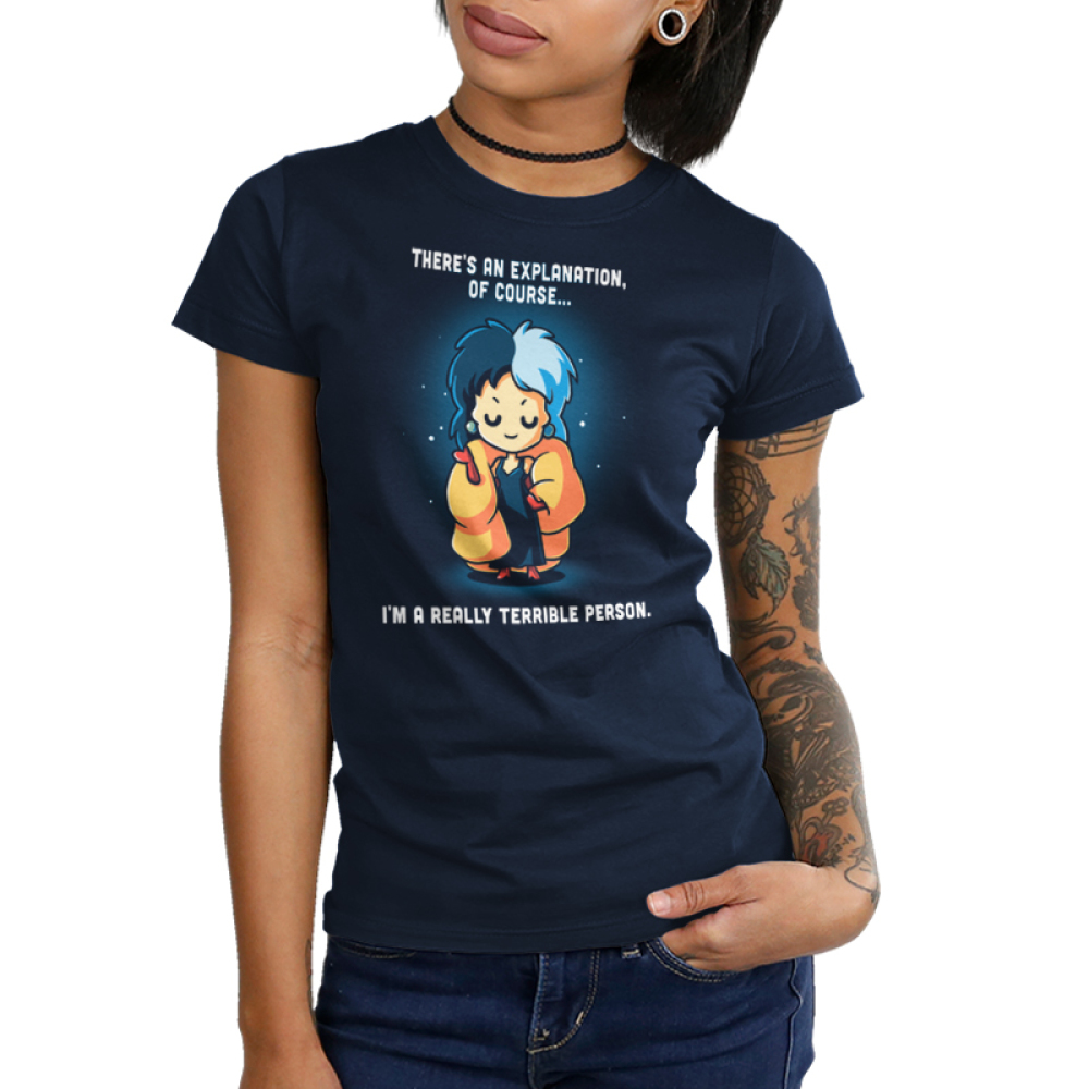 I'm a Really Terrible Person Junior's t-shirt model officially licensed navy Disney t-shirt featuring Cruella De Vil from 101 Dalmatians