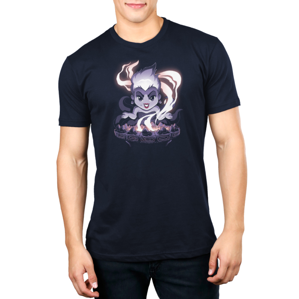 Ursula's Cauldron Men's t-shirt model officially licensed navy Disney t-shirt featuring Ursula from the little mermaid in front of her smoking cauldron