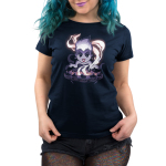 Ursula's Cauldron Women's t-shirt model officially licensed navy Disney t-shirt featuring Ursula from the little mermaid in front of her smoking cauldron