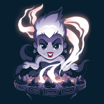 Ursula's Cauldron t-shirt officially licensed navy Disney t-shirt featuring Ursula from the little mermaid in front of her smoking cauldron