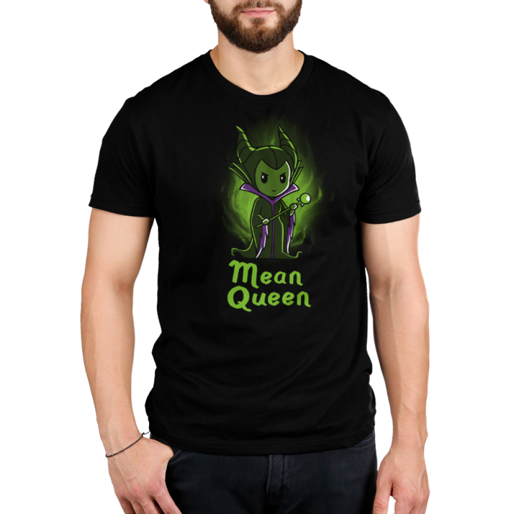 Mean Queen Men's t-shirt model officially licensed black Disney t-shirt featuring Maleficent from Disney Sleeping Beauty