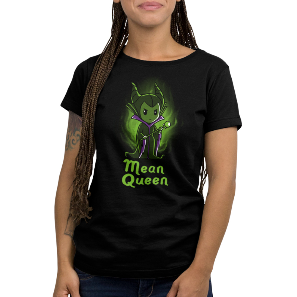 Mean Queen Women's t-shirt model officially licensed black Disney t-shirt featuring Maleficent from Disney Sleeping Beauty