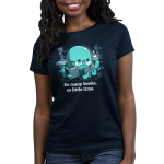So Many Books, So Little Time (Octopus) Women's t-shirt model TeeTurtle navy t-shirt featuring a blue octopus in reading glasses with three books in his tentacles and a cup of coffee in another surrounded by stacks of books