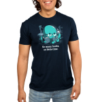 So Many Books, So Little Time (Octopus) Men's t-shirt model TeeTurtle navy t-shirt featuring a blue octopus in reading glasses with three books in his tentacles and a cup of coffee in another surrounded by stacks of books