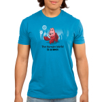 The Human World is a Mess Men's t-shirt model officially licensed cobalt blue Disney t-shirt featuring Sebastian from the Little Mermaid standing on the ocean floor with bubbles around him