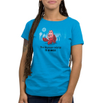 The Human World is a Mess Women's t-shirt model officially licensed cobalt blue Disney t-shirt featuring Sebastian from the Little Mermaid standing on the ocean floor with bubbles around him