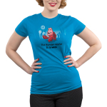 The Human World is a Mess Junior's t-shirt model officially licensed cobalt blue Disney t-shirt featuring Sebastian from the Little Mermaid standing on the ocean floor with bubbles around him