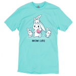 Mom Life t-shirt TeeTurtle Caribbean blue t-shirt featuring a mama bunny holding a baby bunny with another little bunny on her head and two pulling on her on either side of her