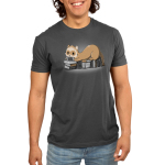 Nerdy and Proud Men's t-shirt model TeeTurtle dark gray t-shirt featuring a ferret sitting on a pile of books playing a hand held video game
